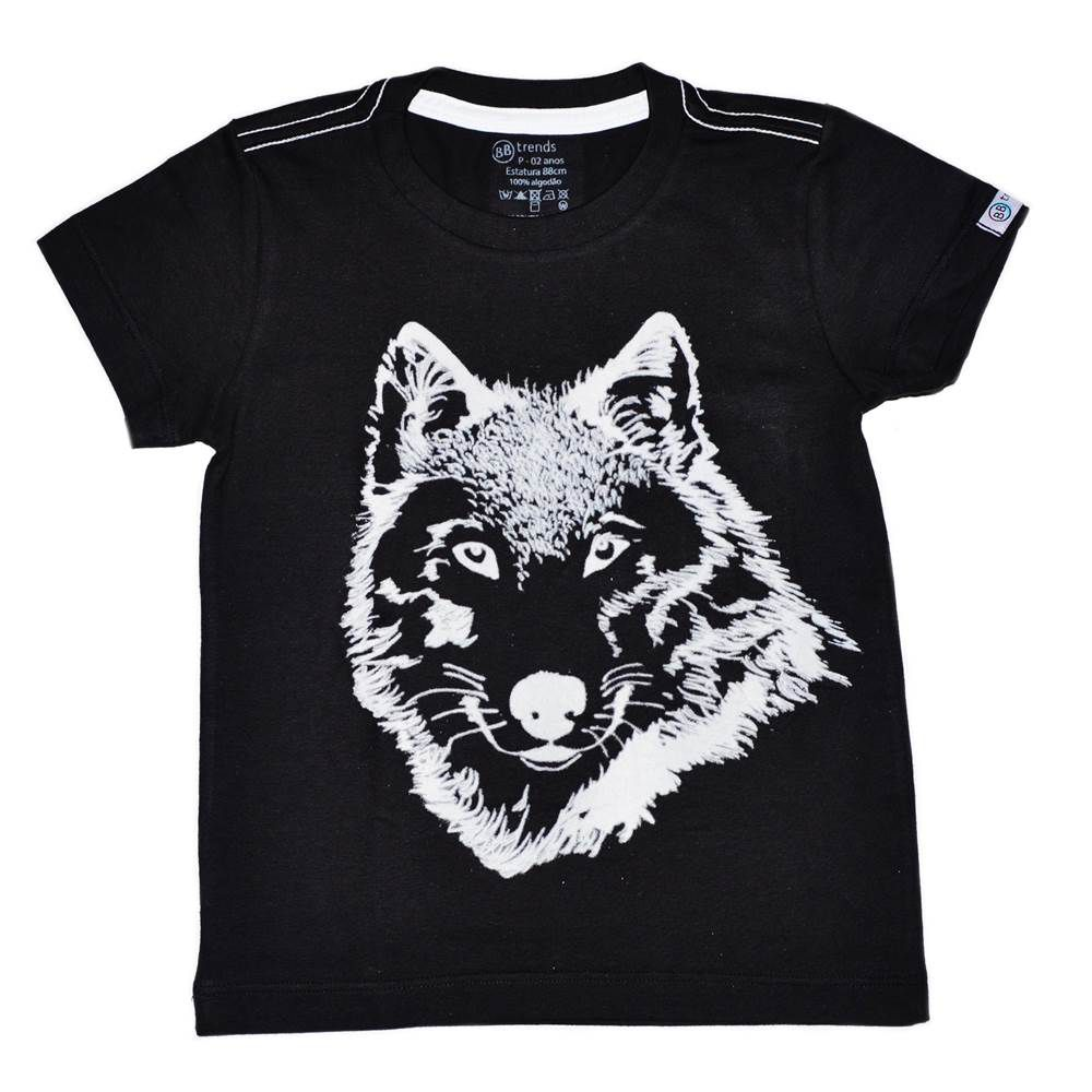 Camiseta Funny Lobo Preto