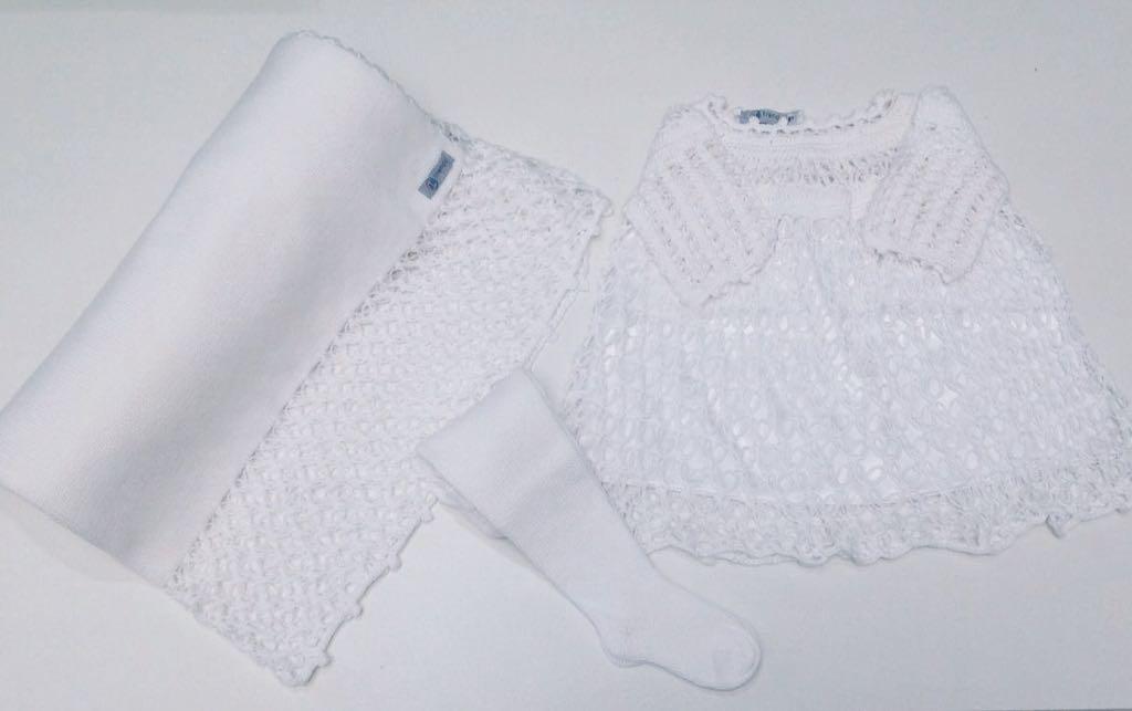Saida maternidade Tricot + Croche - 3 Peças Vestido, Meia e Manta - Branco
