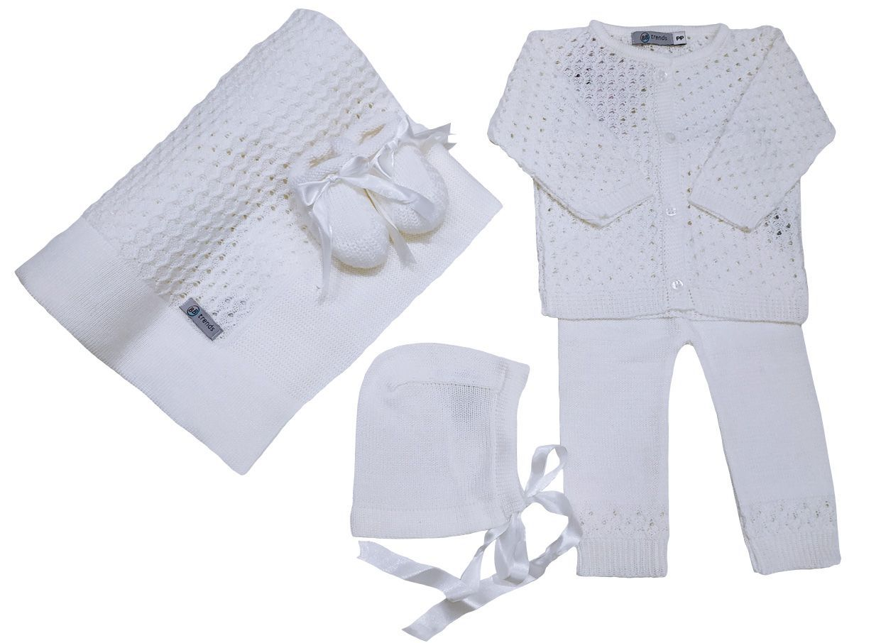 Conjunto Tricô Real - Off White - BBtrends