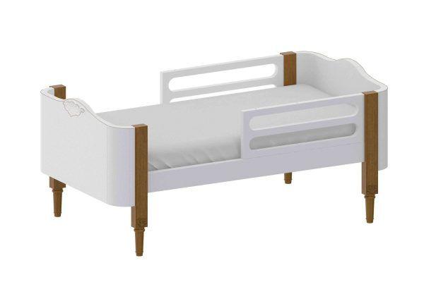 Linha Bo Classic- Mini Cama Branca com Madeira