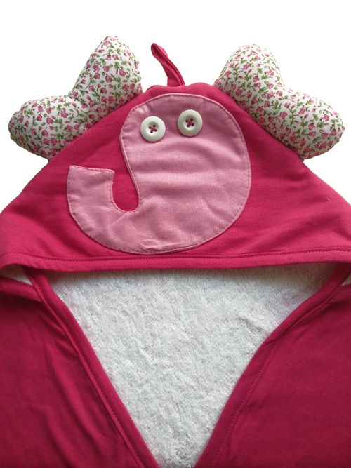 Toalha com Capuz - Elefante Rosa