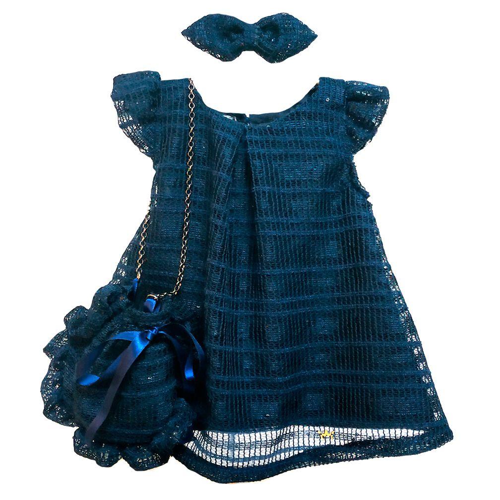 Vestido - Ana Azul com bolsa