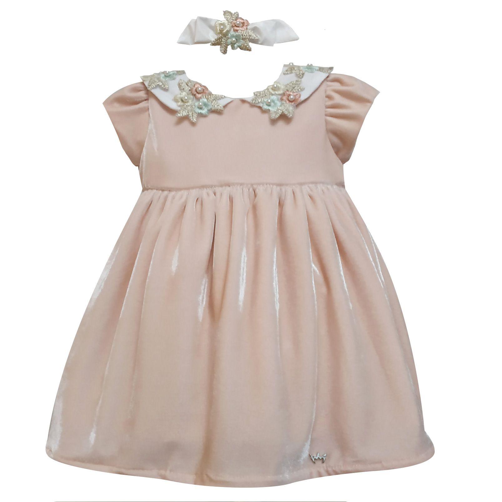 Vestido Lila Veludo Perolas - Rosa