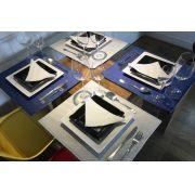 Jogo Americano Flor Delicada Azul e Branco Dupla Face Luxo 14 peças Cosi Dimora