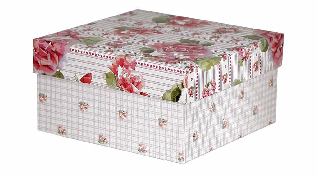 Caixa Organizadora Floral Rosa Quadriculada