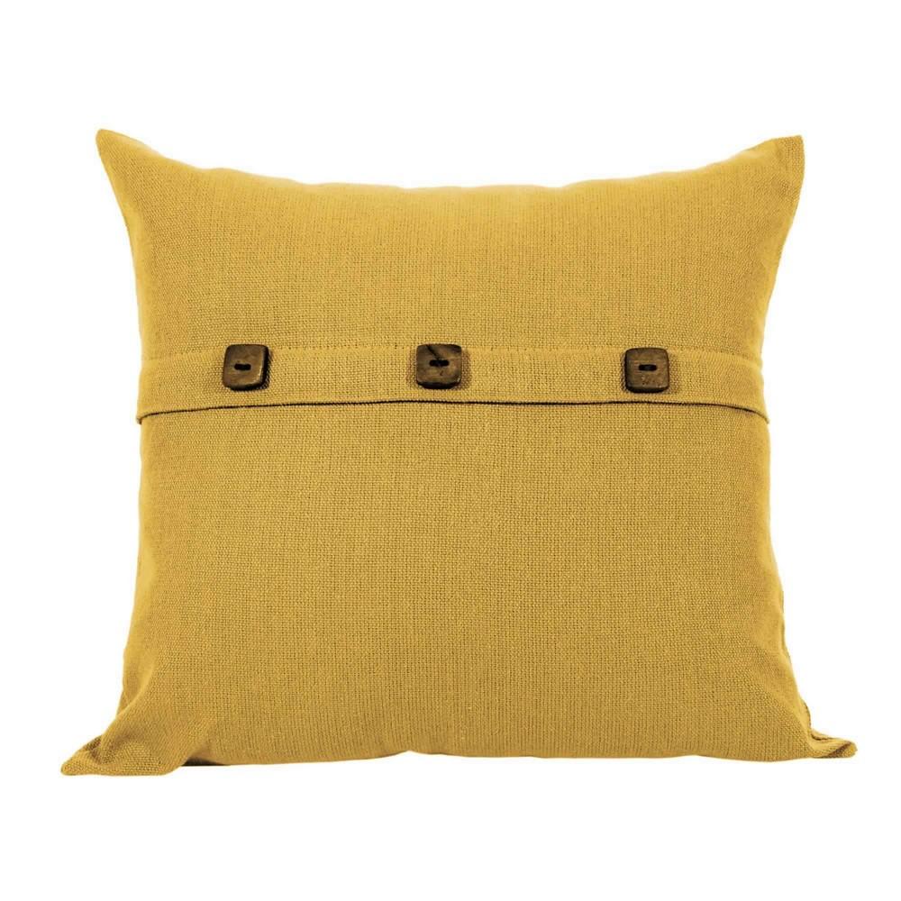Capa para Almofada Botão Lounge Amarelo Ocre Artesanal Teares