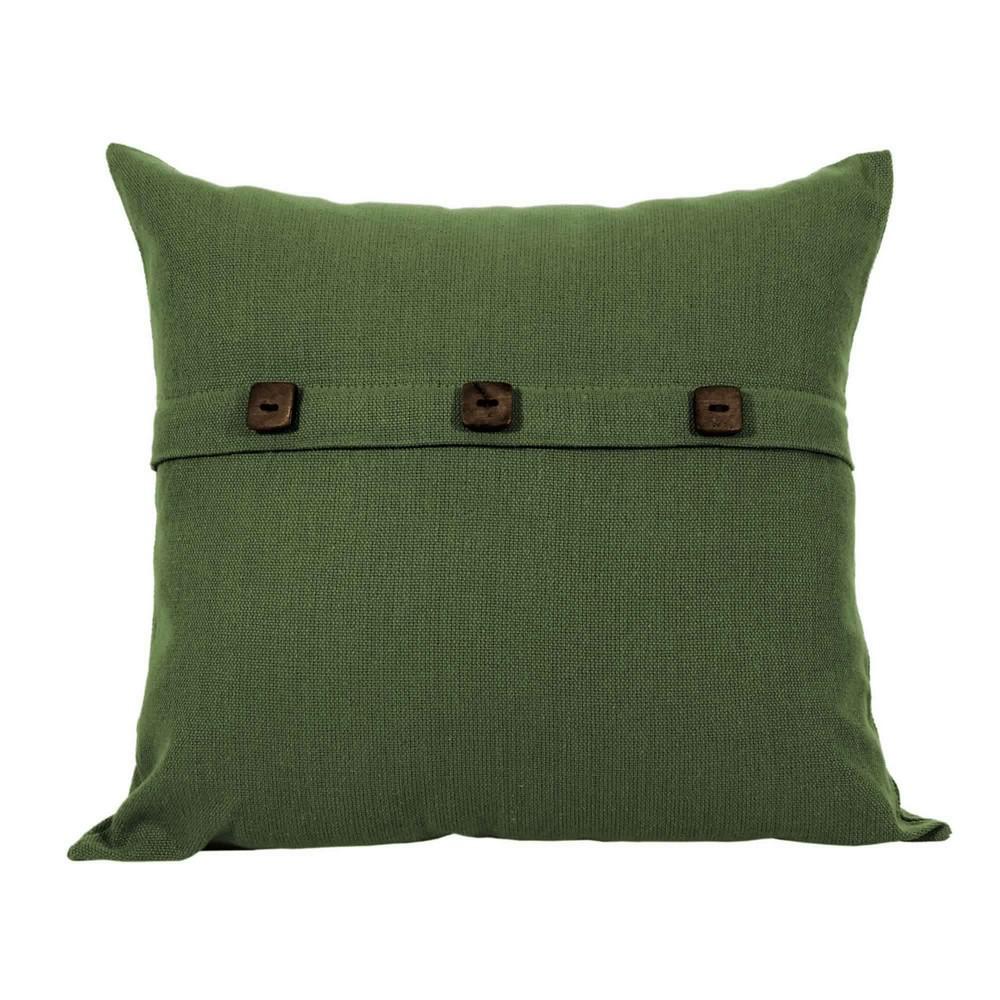 Capa para Almofada Botão Lounge Verde Musgo Artesanal Teares