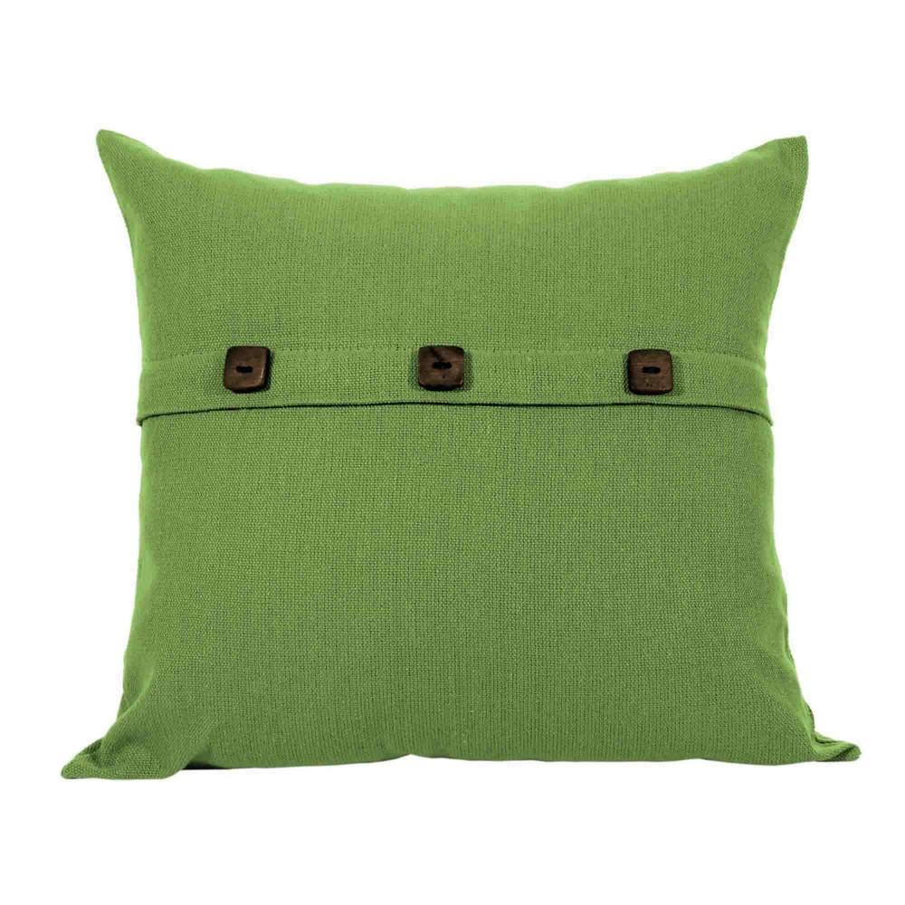 Capa para Almofada Botão Lounge Verde Oliva Artesanal Teares