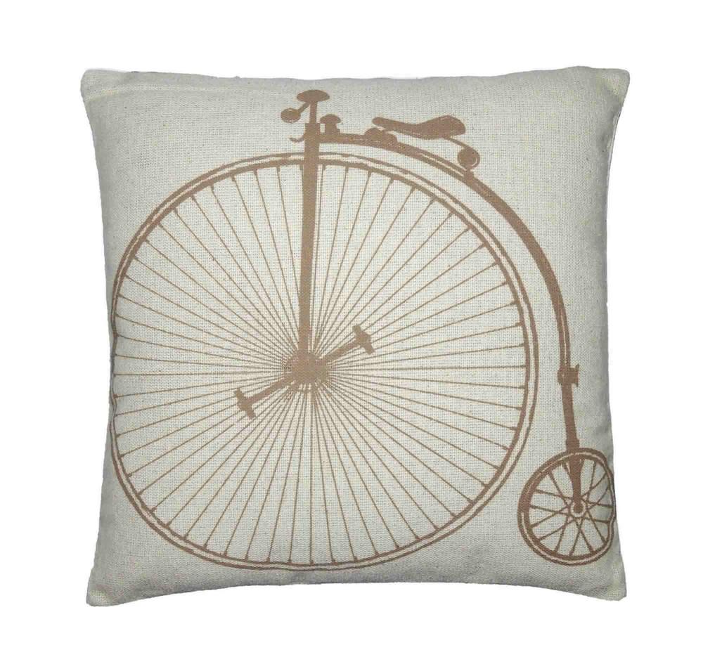 Capa para Almofada Estampada Bicicleta Artesanal Teares