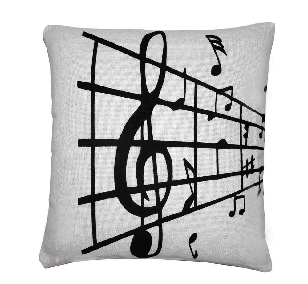Capa para Almofada Estampada Notas Musicais Artesanal Teares