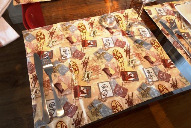 Jogo Americano Estampa Selos Postais 100% Algodão 11 peças