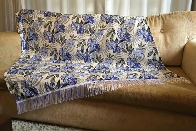 Kit Manta para Sofá e Almofadas Primavera Azul 1,50x1,50m Cosi Dimora