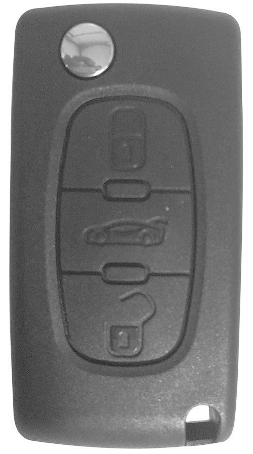 Chave Canivete Citroen 3 Botões c/ lâmina oca- 17459
