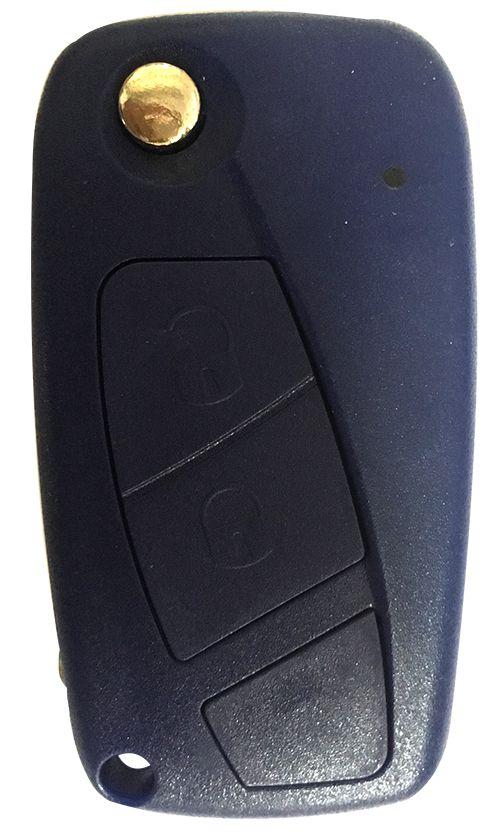 Chave Canivete Fiat 2 botões azul oca - 7758