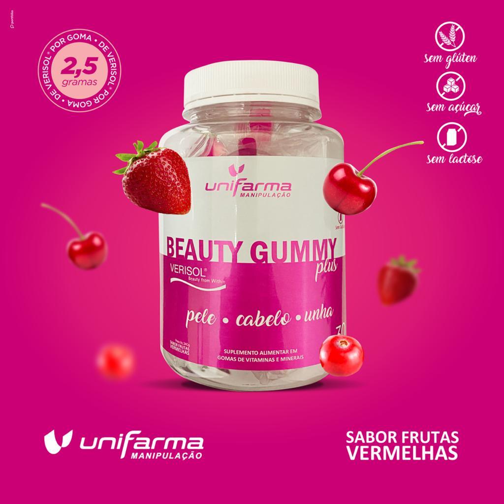 Beauty Gummy Plus A ÚNICA COM 2,5G DE VERISOL® POR GOMA + 100MG SILÍCIO ORGÂNICO + BIOTINA + MINERAIS + VITAMINAS