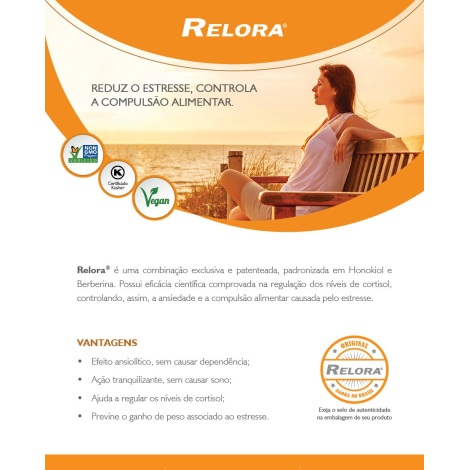 Relora 100mg Controla a ansiedade e a compulsão alimentar 60 cápsulas