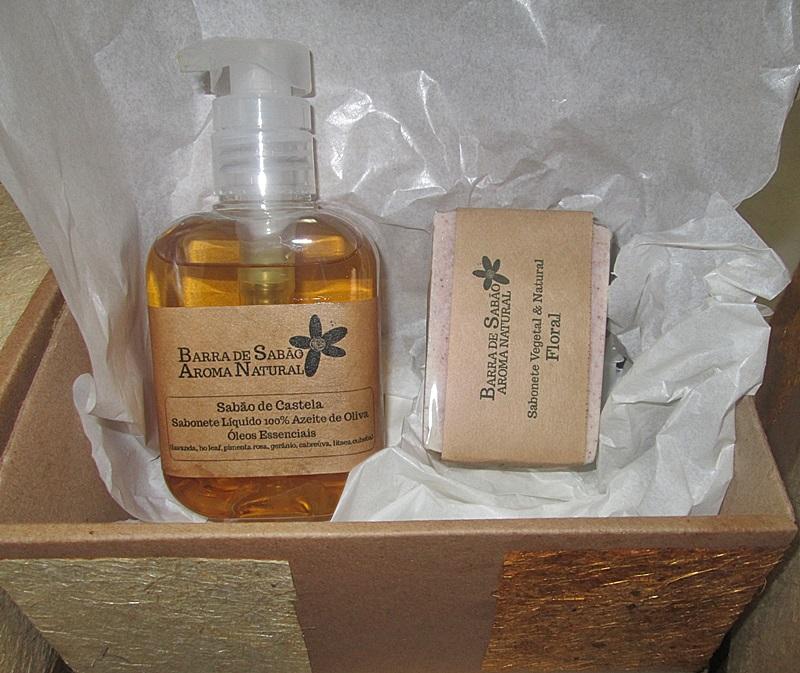 caixa presente  - Barra de Sabão - Aroma Natural