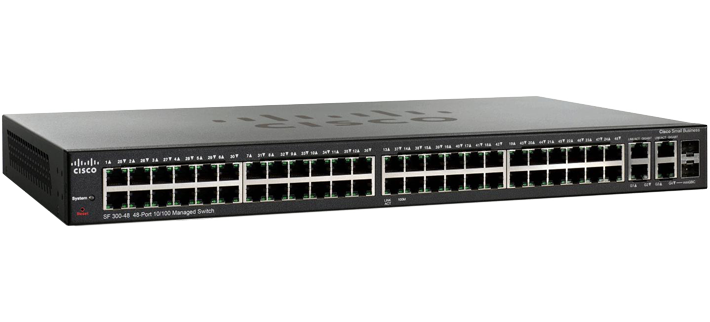Switch Cisco Gerenciável SF300 (SRW248G4-K9-BR) 48 Portas 10/100 + 2 Gigabit + 2 Gigabit/SFP (Substitui Linksys SRW248G4)  - TNTinfo Loja