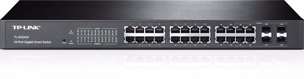 Switch TP-Link Smart Gigabit com 24 Portas + 4 Slots SFP Jetstream T1600G-28TS (TL-SG2424)  - TNTinfo Loja