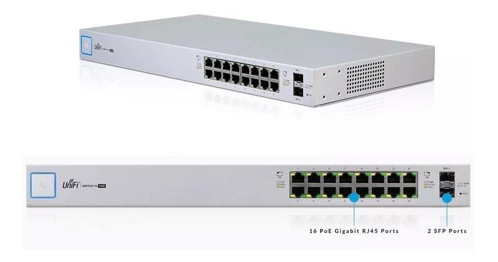 Switch Ubiquit Us-16-150w-br Unifi 16p Poe Rj45 + 2p Sfp  - TNTinfo Loja