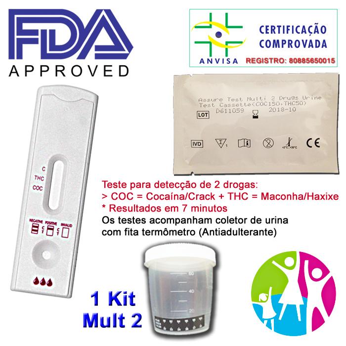 01 Kit para teste de duas substâncias: R$25,00 - COC+THC com coletor de urina  - EAB - Prevenção e Saúde
