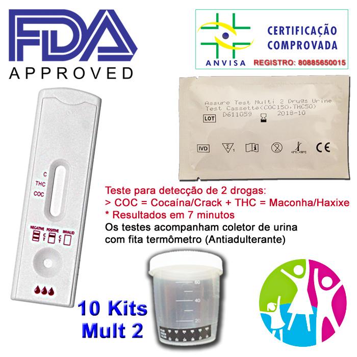 10 Kits para teste de duas substâncias: R$200,00 - COC+THC com coletor de urina  - EAB - Prevenção e Saúde