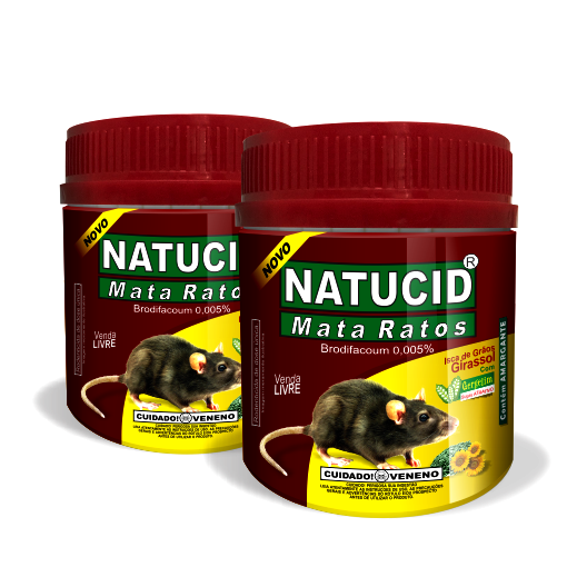 02 uni NATUCID Mata Ratos Pote 75gr + 03 uni NATUCID 30ml Cartelas eficaz contra Formigas, Cupins, Baratas, Pulgas e Carrapatos - Cód. 36