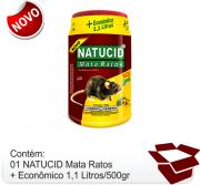 01 Un- Isca Natucid Mata Ratos pote Econômico 1,1L/500gr de Grãos de Girassol com gergelim super atrativa, eficaz contra ratazanas e camundongos.