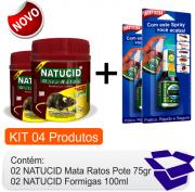 KIT Raticida Natucid Mata Ratos  02 uni + Inseticida Natucid  02 uni eficaz contra Formigas, Cupins, Baratas, Pulgas e Carrapatos.