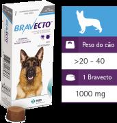 Bravecto Antipulgas Carrapatos Cães 20 A 40kg Vence:09/18