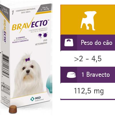 Bravecto Antipulgas Carrapatos Cães até 4,5kg Vence:09/18