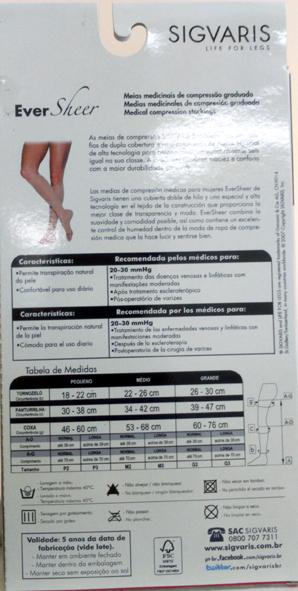 Meia 3/4 Panturrilha 782 Ad Ever Sheer 20-30 Mmhg Com Ponteira Aberta Cor: Natural Escuro Tam: P/N