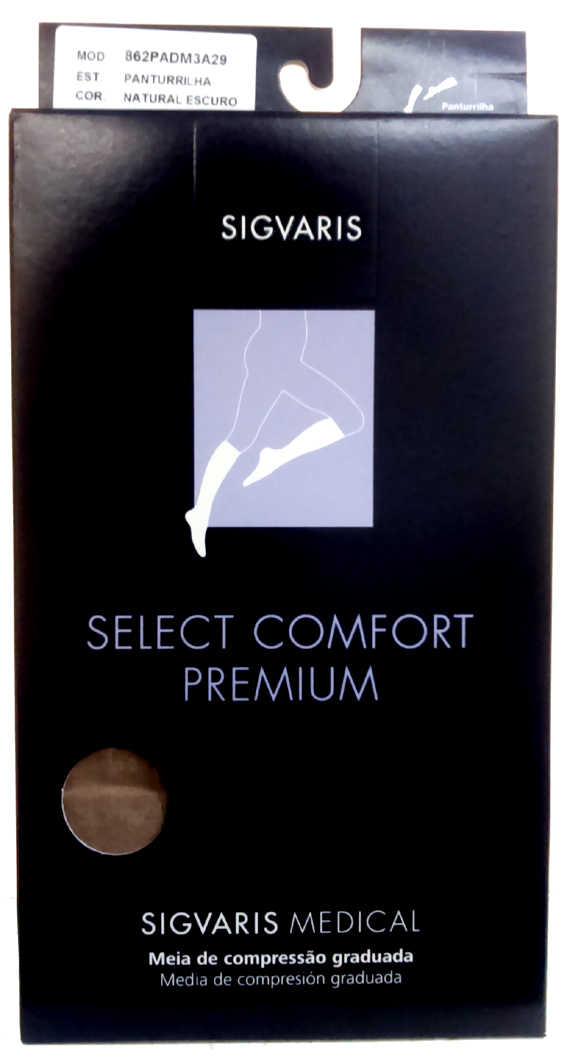 Meia 3/4 Unissex Sem Ponteira De Média Compressão (20-30 Mmhg) Premium 862Pad Cor: Natural Tam: M/C