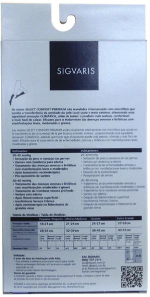 Meia 3/4 Unissex Sem Ponteira De Média Compressão (20-30 Mmhg) Premium 862Pad Cor: Natural Tam: P/C