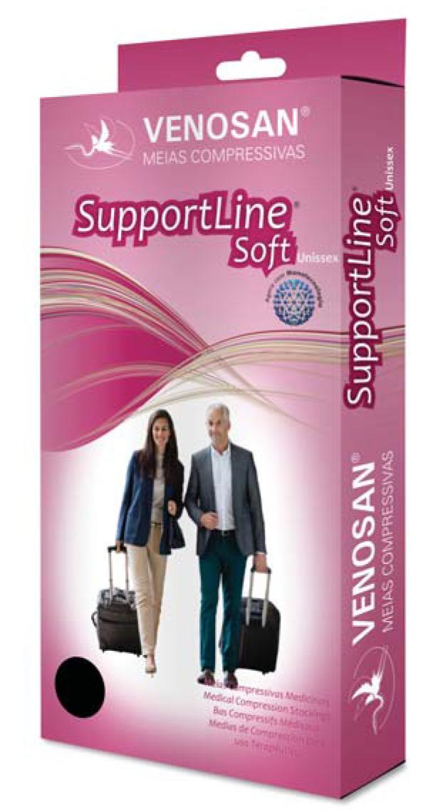 Supportline Soft Ad 18-22Mmhg Unisex Pf Cor: Preto Tam: M
