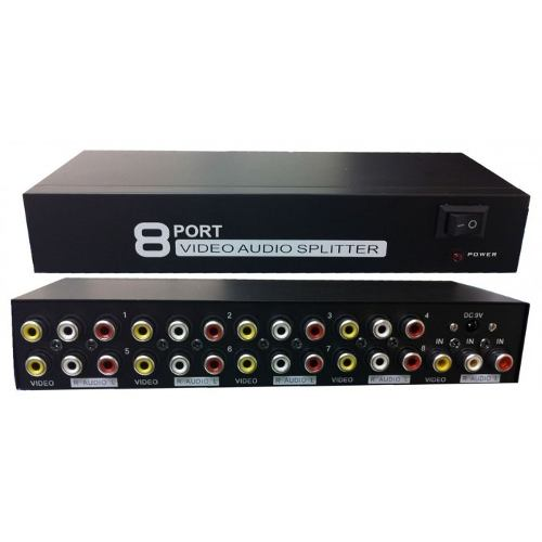 Distribuidor Áudio E Vídeo 1 X 8 Rca  - LD Cabos Soluções Áudio e Vídeo