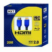 Cabo hdmi versão 2.0, 19 Pinos 4k Ultra HD 3D- 20 Metros MXT