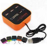 Hub USB 2.0 3 Portas + Leitor De Cartão Universal 2.0