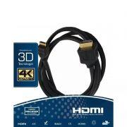 Cabo HDMI Versão 2.0, 19 Pinos 4k Ultra HD 3D- 1.8 Metros