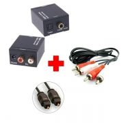 Conversor De Áudio Digital Para Rca Analógico + Cabo Óptico e RCA - Ld Cabos