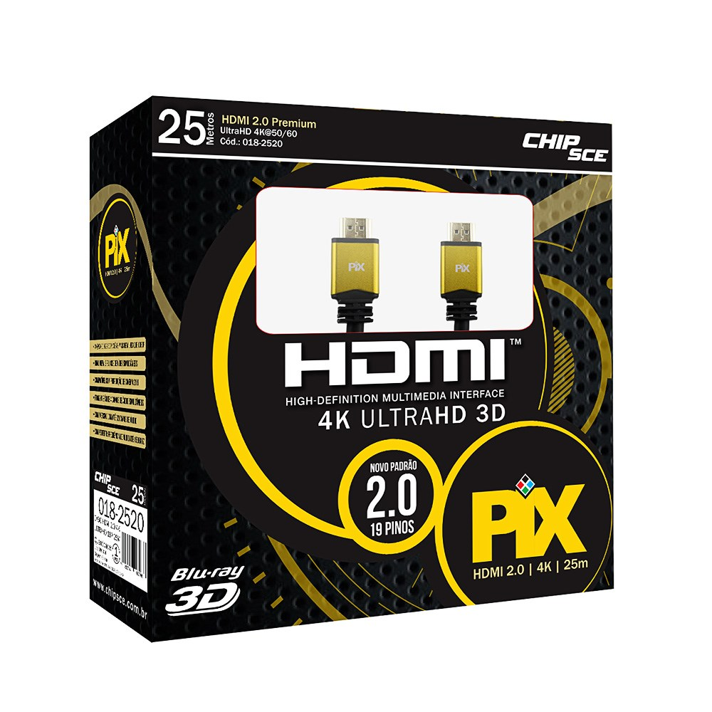 Cabo HDMI 2.0 - 4K Ultra HD 3D - 25 Metros  - LD Cabos Soluções Áudio e Vídeo