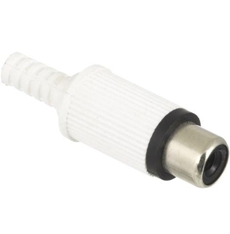 Conector RCA Fêmea Branco Plástico Para Cabo  - LD Cabos Soluções Áudio e Vídeo