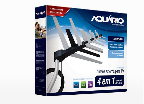 Antena Externa com Mastro e Cabo DTV2000- AQUÁRIO  - LD Cabos Soluções Áudio e Vídeo