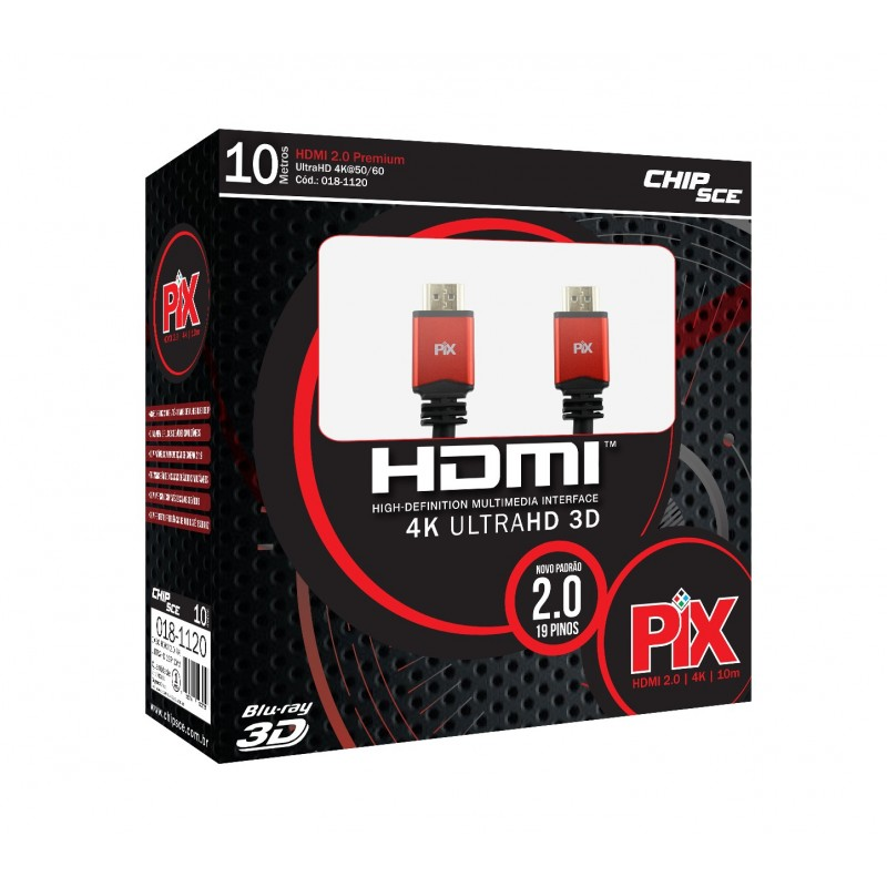 Cabo HDMI 2.0 - 4K Ultra HD 3D - 10 Metros  - LD Cabos Soluções Áudio e Vídeo