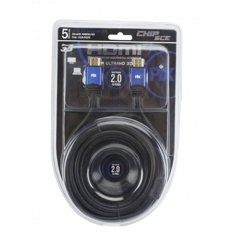 Cabo HDMI 2.0 - 4K Ultra HD 3D - 5 Metros  - LD Cabos Soluções Áudio e Vídeo