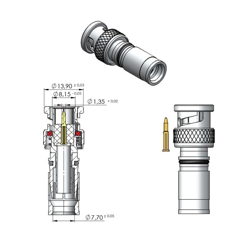 Bnc macho de compressão rgc-59 (80)  - LD Cabos Soluções Áudio e Vídeo