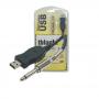Cabo Microfone USB-A M Para P10 Mono 3 Metros