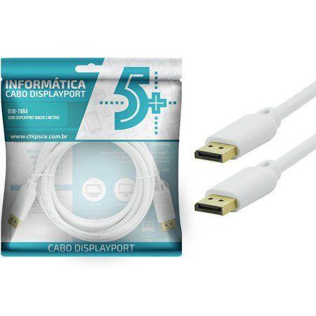 Cabo DisplayPort Para DisplayPort 3 - Metros  - LD Cabos Soluções Áudio e Vídeo
