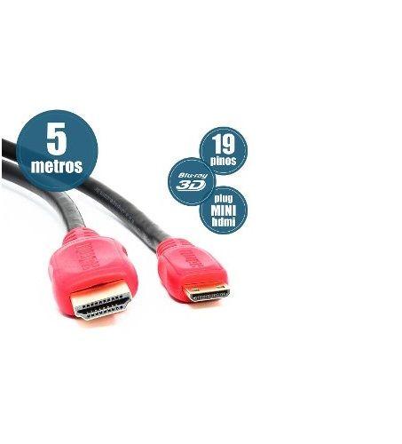 Cabo Mini HDMI Para HDMI 5 - Metros  - LD Cabos Soluções Áudio e Vídeo