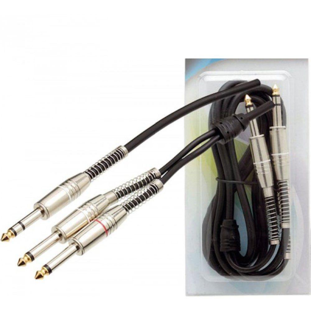 Cabo P10 Estéreo Para 2 P10 Mono Profissional 1.8 - Metros  - LD Cabos Soluções Áudio e Vídeo